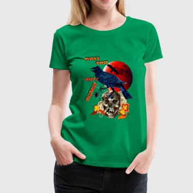 Raven And Moon Raven and Red Moon-lettered - Women's Premium T-Shirt