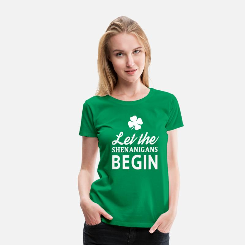 Fourleaf Clover T-Shirts - Let the shenanigans begin - Women's Premium T-Shirt kelly green