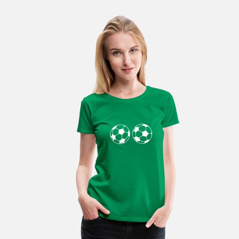 Sports T-Shirts - soccer ball boobs - Women's Premium T-Shirt kelly green