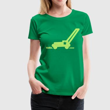 Cutting LAWN mower cutting grass with a star - Women's Premium T-Shirt