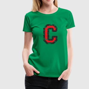 Letter C (Distressed) Black/Red - Women's Premium T-Shirt