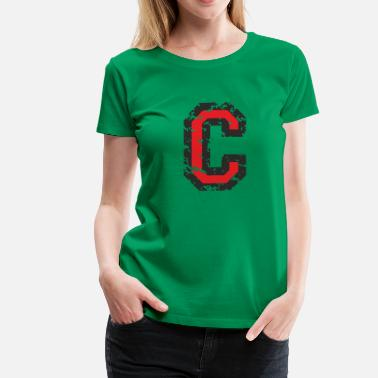 C Alphabet Letter C (Distressed) Black/Red - Women's Premium T-Shirt