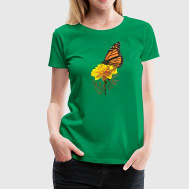 Monarch Butterfly on Marigold - Women's Premium T-Shirt