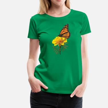 Monarch Butterfly Monarch Butterfly on Marigold - Women's Premium T-Shirt