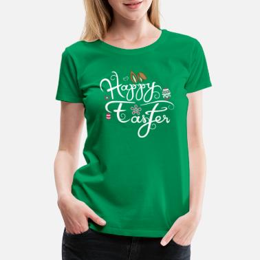 Tattooed And Christian Happy Easter Tattoo Floppy Ears Bunny Eggs - Women's Premium T-Shirt