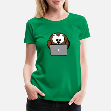 Busy Working Notebook Owl Business Work - Women's Premium T-Shirt