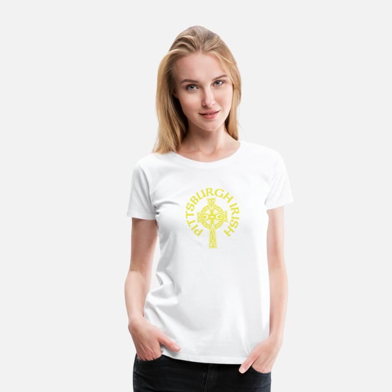 5fc70670 Pittsburgh Irish Celtic Cross apparel Clothing Women's Premium T-Shirt -  white