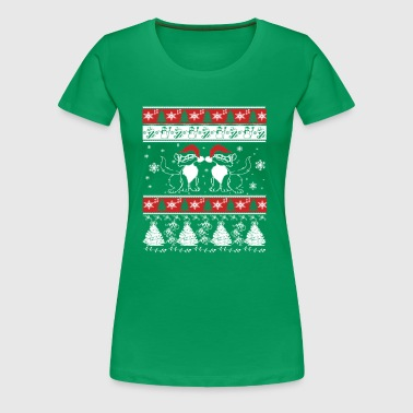 Ugly Christmas Design with Crazy Cats - Women's Premium T-Shirt