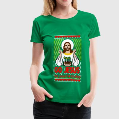 Jesus Birthday Ugly Christmas Sweater - Women's Premium T-Shirt