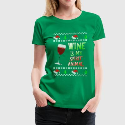 Ugly Christmas Sweater WINE IS MY SPIRIT ANIMAL - Women's Premium T-Shirt