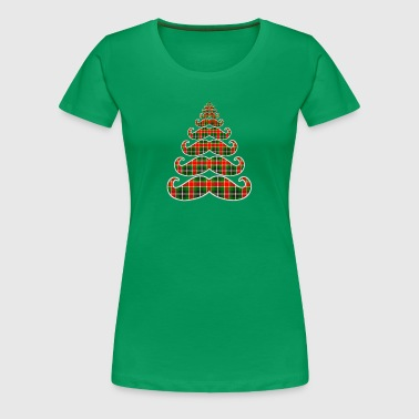 Plaid Mustache Christmas Tree - Women's Premium T-Shirt