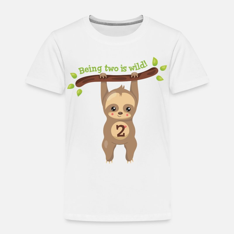 Cute Sloth 2nd Birthday Toddler Premium T Shirt