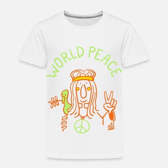 Hippie Baby Clothing - World Peace - Toddler Premium T-Shirt white