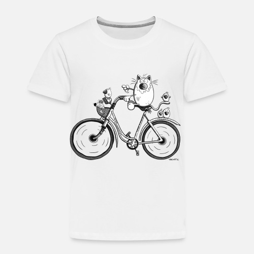 Cat And Bird rides a bike - Cartoon - Gift - Funny - Toddler Premium T.  Front 8062f6695