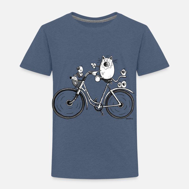 Cat And Bird rides a bike - Cartoon - Gift - Funny Toddler Premium T-Shirt   05da93847