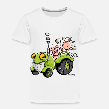 Driving Pig And Cow Driving Tractor - Cartoon - Gift - Toddler Premium T-Shirt