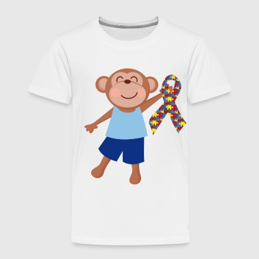 Autism Awareness Autism Puzzle Ribbon Kids Monkey - Toddler Premium T-Shirt