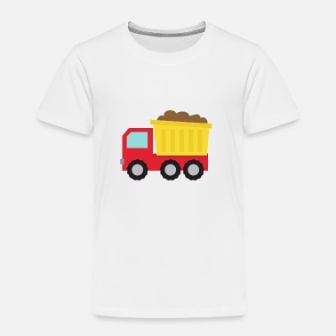 Red Dirt red and yellow dump truck carrying debris and dirt - Toddler Premium T-Shirt