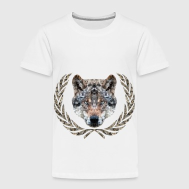 Wolf with laurel - Polyghon - pixelart - Toddler Premium T-Shirt