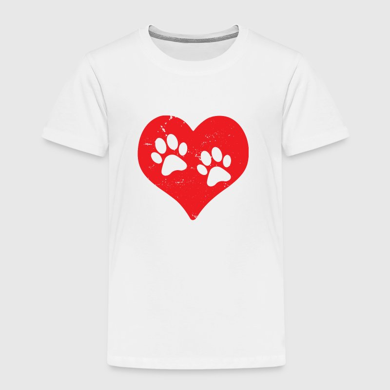 Heart Paw Paws Dog Cat Love red - Toddler Premium T-Shirt