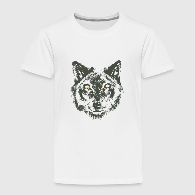 Wolf with yellow eyes - hand-drawn style - Toddler Premium T-Shirt