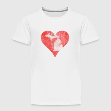 Classic Michigan Vintage Distressed Heart - Toddler Premium T-Shirt
