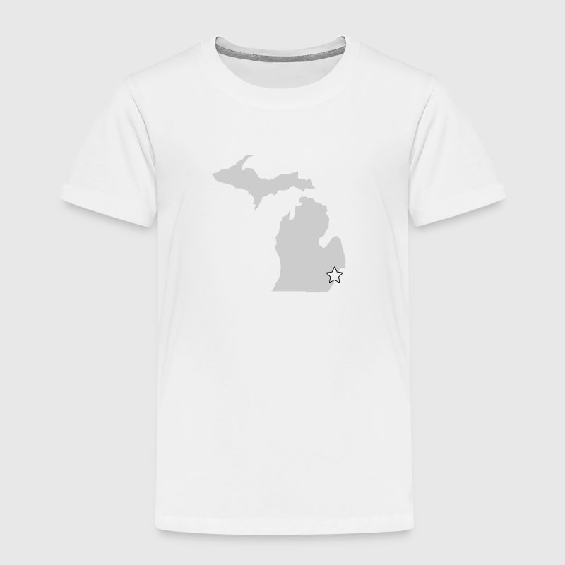 A Michigan Outline with Star - Toddler Premium T-Shirt