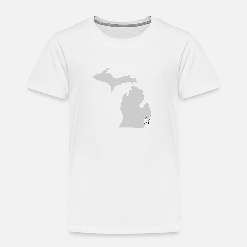 Michigan Baby Clothing - A Michigan Outline with Star - Toddler Premium T-Shirt white