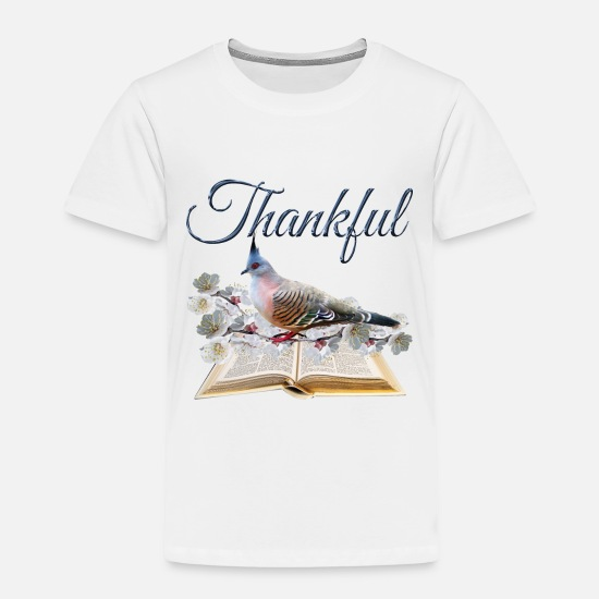 Christian Baby Clothing - Be Thankful. Be a Cool Christian. - Toddler Premium T-Shirt white