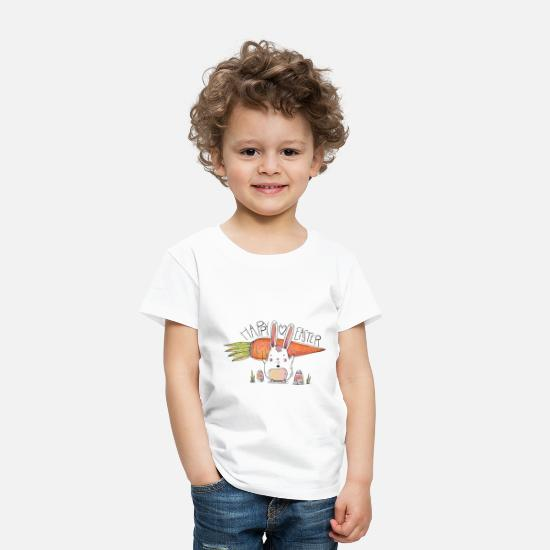 Big Baby Clothing - Cute Bunny With Big Carrot And Eggs For Easter Day - Toddler Premium T-Shirt white
