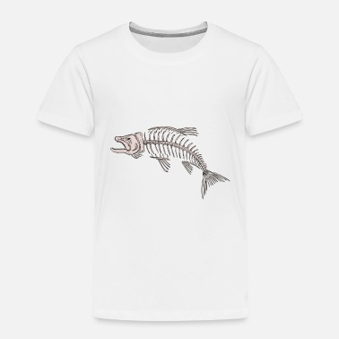 Fishing King Salmon Skeleton Drawing - Toddler Premium T-Shirt