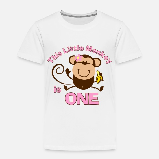 Birthday Baby Clothing - 1st Birthday Monkey Girl - Toddler Premium T-Shirt white