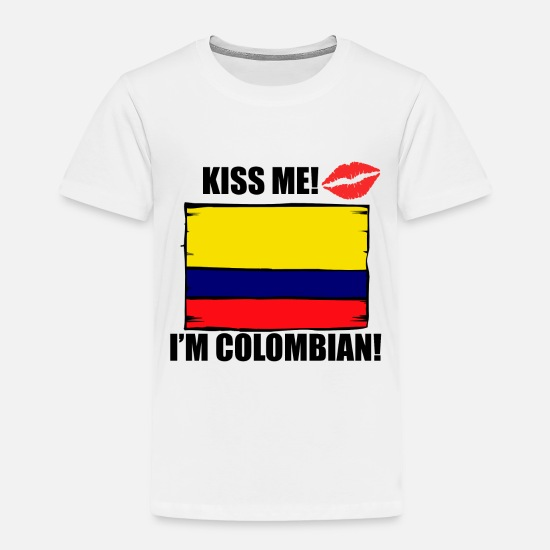 Designs Baby Clothing - Kiss Me I'm Colombian - Toddler Premium T-Shirt white
