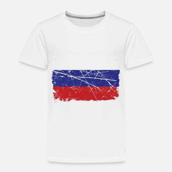 Russian Baby Clothing - Worn Russian Flag Gift Idea - Toddler Premium T-Shirt white