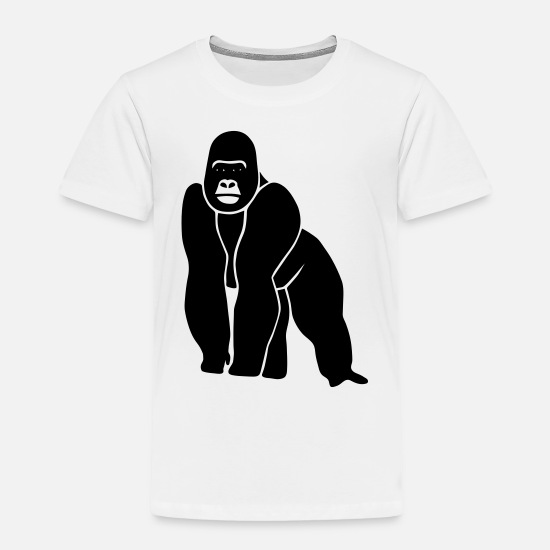 Ape Baby Clothing - gorilla ape monkey king kong godzilla silver back orang utan - Toddler Premium T-Shirt white
