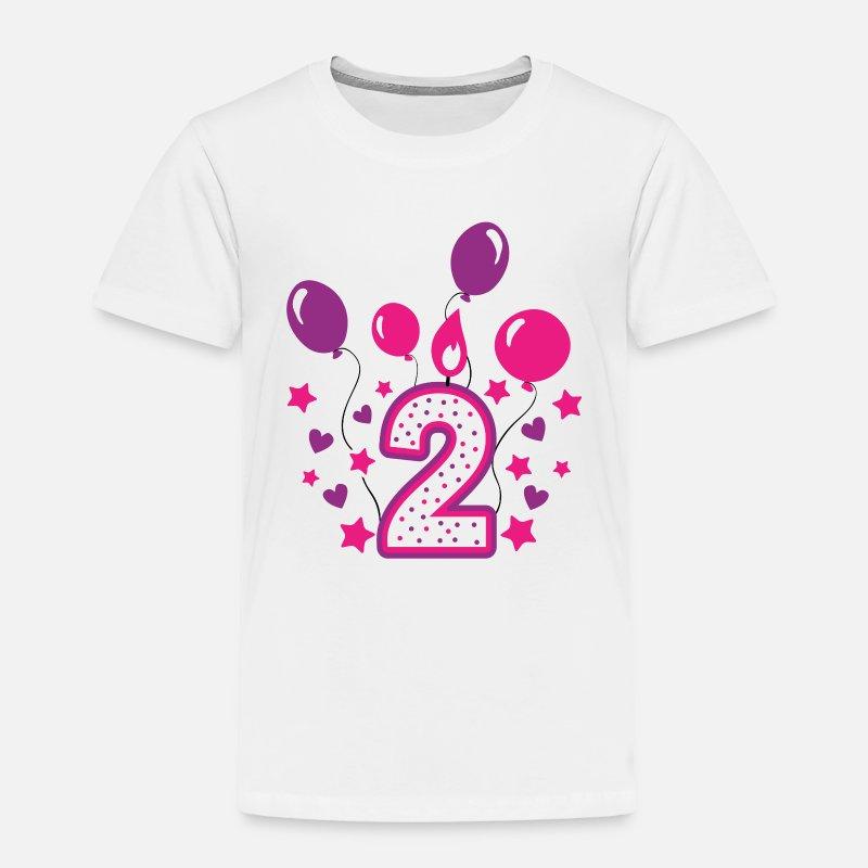 Second Birthday Girl 2nd Happy Gift Niece Toddler Premium T