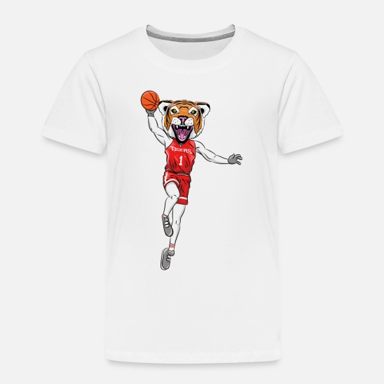 Basketball Baby Clothing - Tiger mascot basketball - Toddler Premium T-Shirt white
