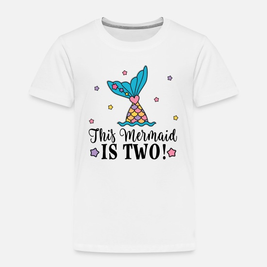 Birthday Baby Clothing - 2nd Birthday Mermaid Party - Toddler Premium T-Shirt white