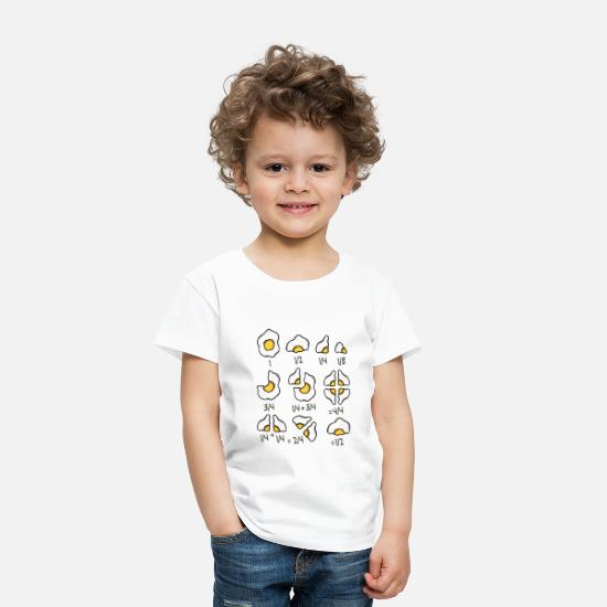 Idea Baby Clothing - Fried Egg Quick Maths Fractions Teacher School Tee - Toddler Premium T-Shirt white