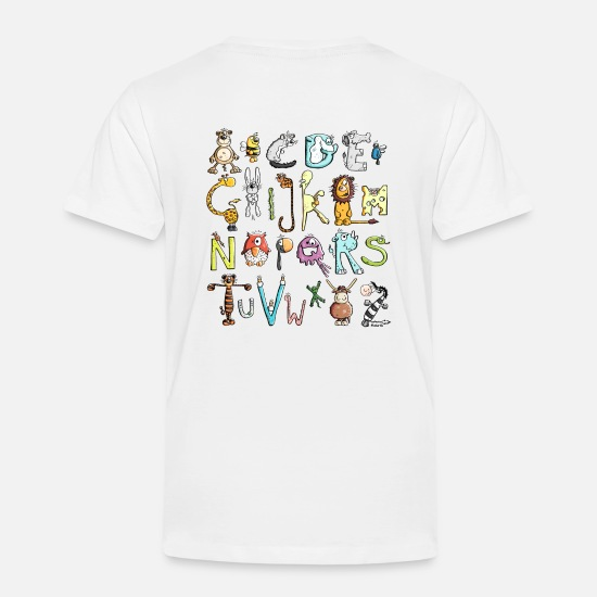 First Baby Clothing - Colorful Animal Alphabet - Animals - Toddler Premium T-Shirt white