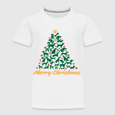 Merry Christmas Tree Dogs T shirt - Toddler Premium T-Shirt