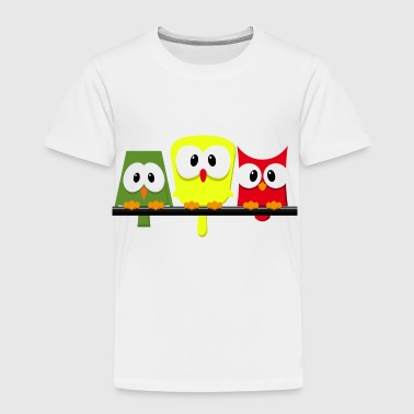 small cute owls on a branch - Toddler Premium T-Shirt