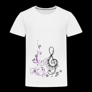 Clef with piano, flowers and music notes - Toddler Premium T-Shirt