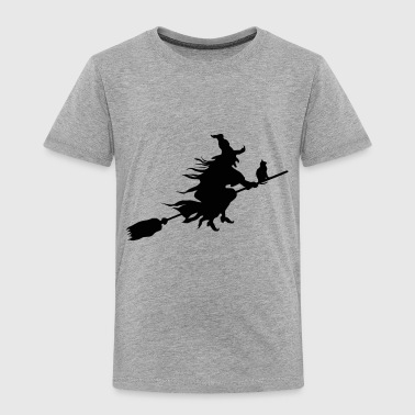 witch with a cat on a broom stick - Toddler Premium T-Shirt