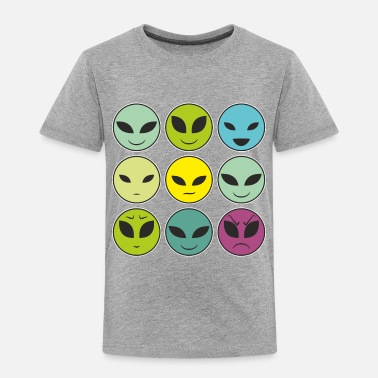 Facial Expressions Funny Alien Heads And Facial Expressions Pattern - Toddler Premium T-Shirt