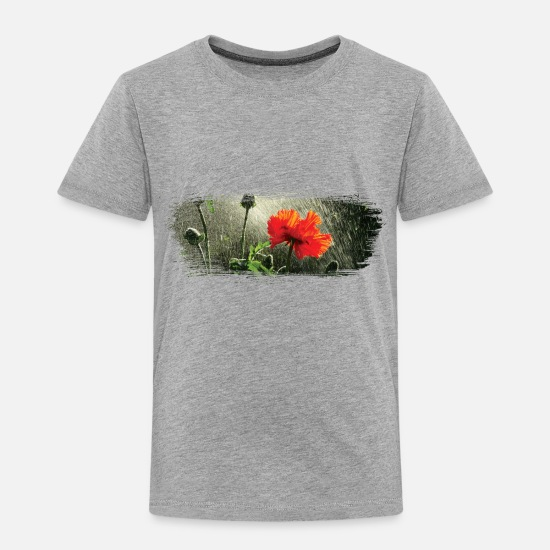 Flower Baby Clothing - Poppies in the rain paint stroke - Toddler Premium T-Shirt heather gray