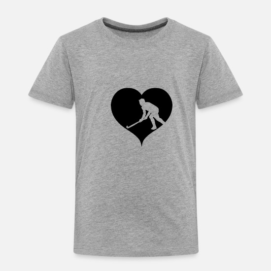 Hockey Baby Clothing - Black heart field hockey indoor sport gift - Toddler Premium T-Shirt heather gray