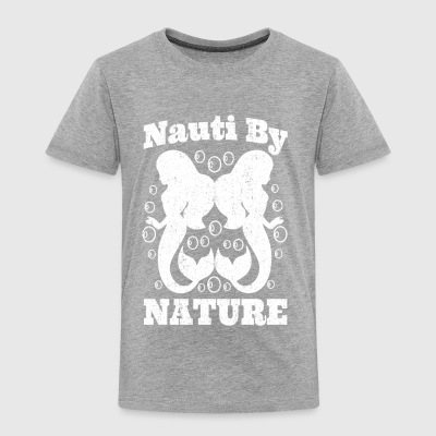 Cute Mermaid T Shirt NAUTI BY NATURE Distressed - Toddler Premium T-Shirt