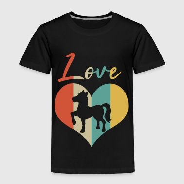 Foal Horse & Pony Retro Heart Love Gift & Present - Toddler Premium T-Shirt