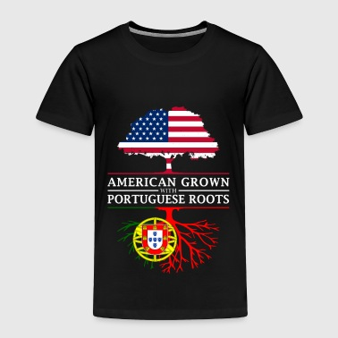American Flag American Grown with Portuguese Roots Portugal Design - Toddler Premium T-Shirt
